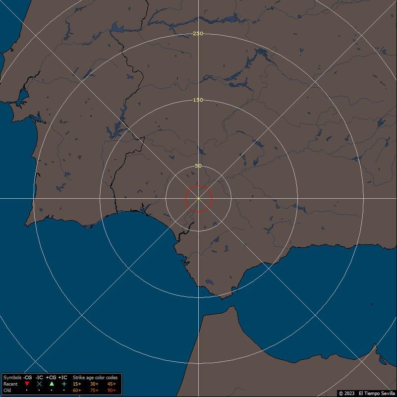 Últimos rayos caídos en Sevilla, Andalucía Occidental y Portugal
