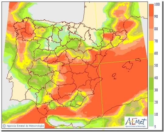 Gráfico probabilístico elaborado con los datos del modelo EPS en donde podemos observar el riesgo de lluvia y su distribución para cantidades superiores o iguales a 2 litros por metro cuadrado.